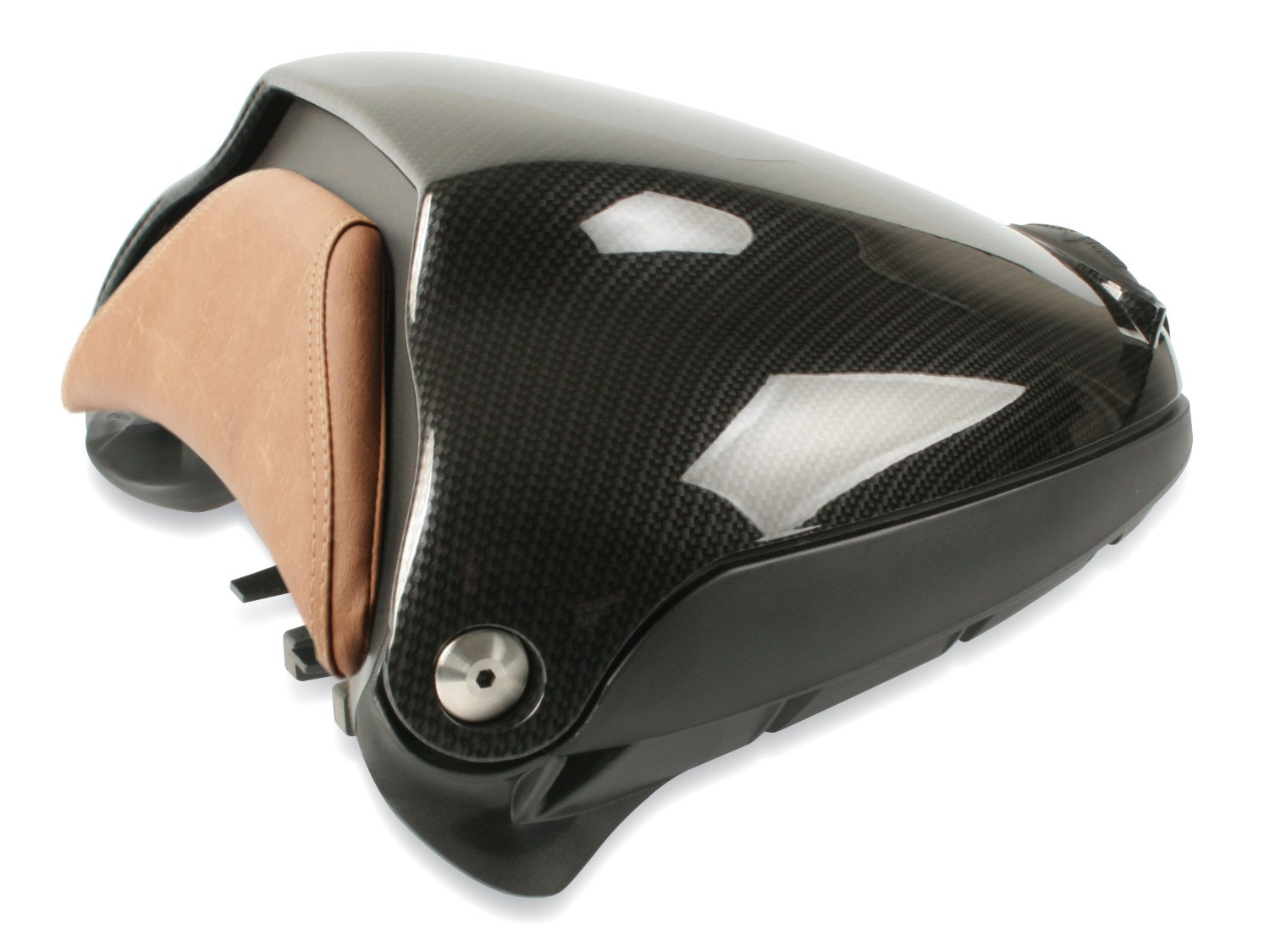 Storage Pod, BMW R nine T / R nine T Scrambler, faux carbon fiber finish, tan pad.